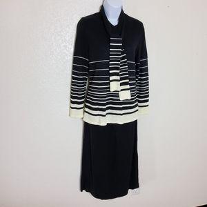 Leslie Faye Striped Two-Piece Sweater Skirt Set, w